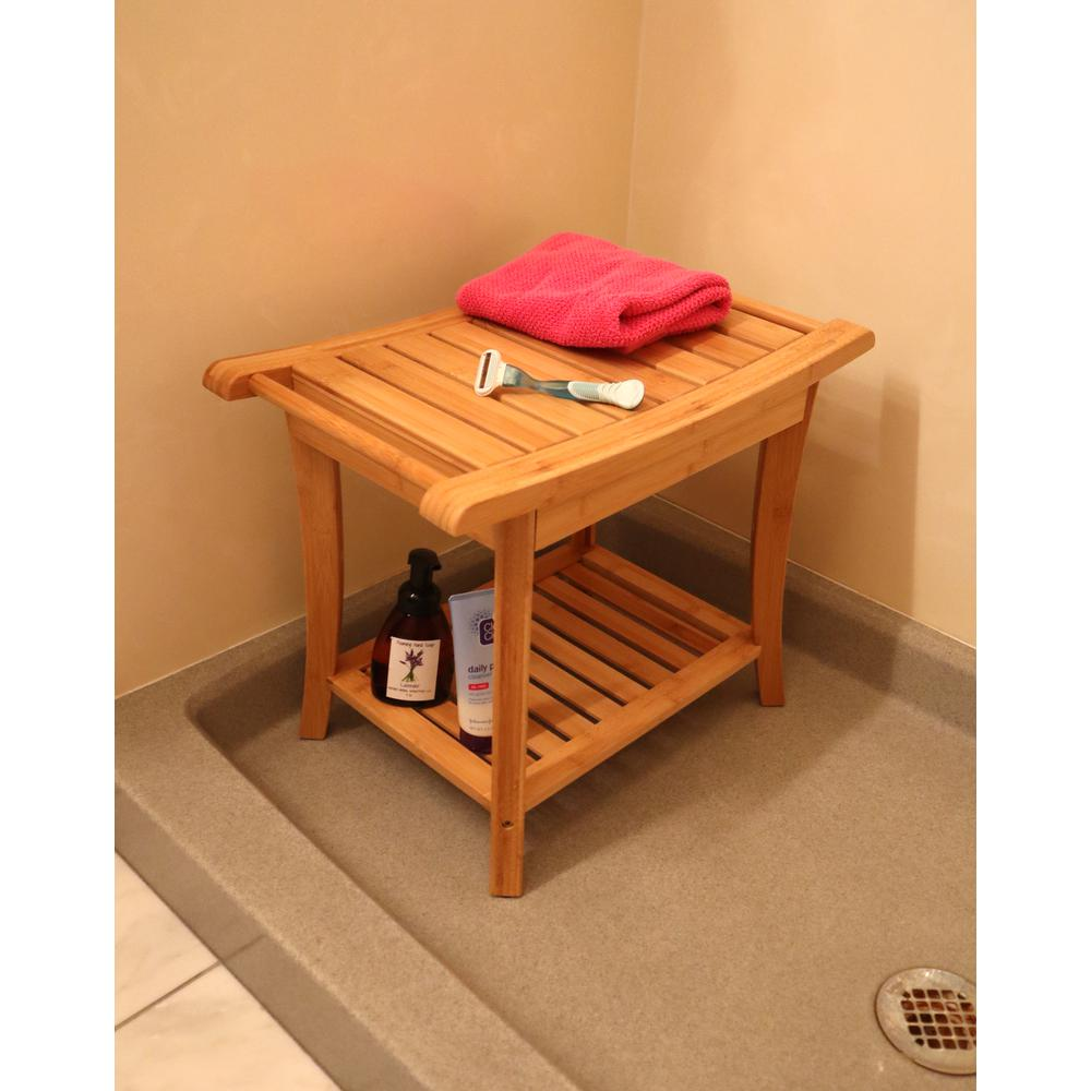 Bamboo Shower Bench w/Side Handles. Picture 2