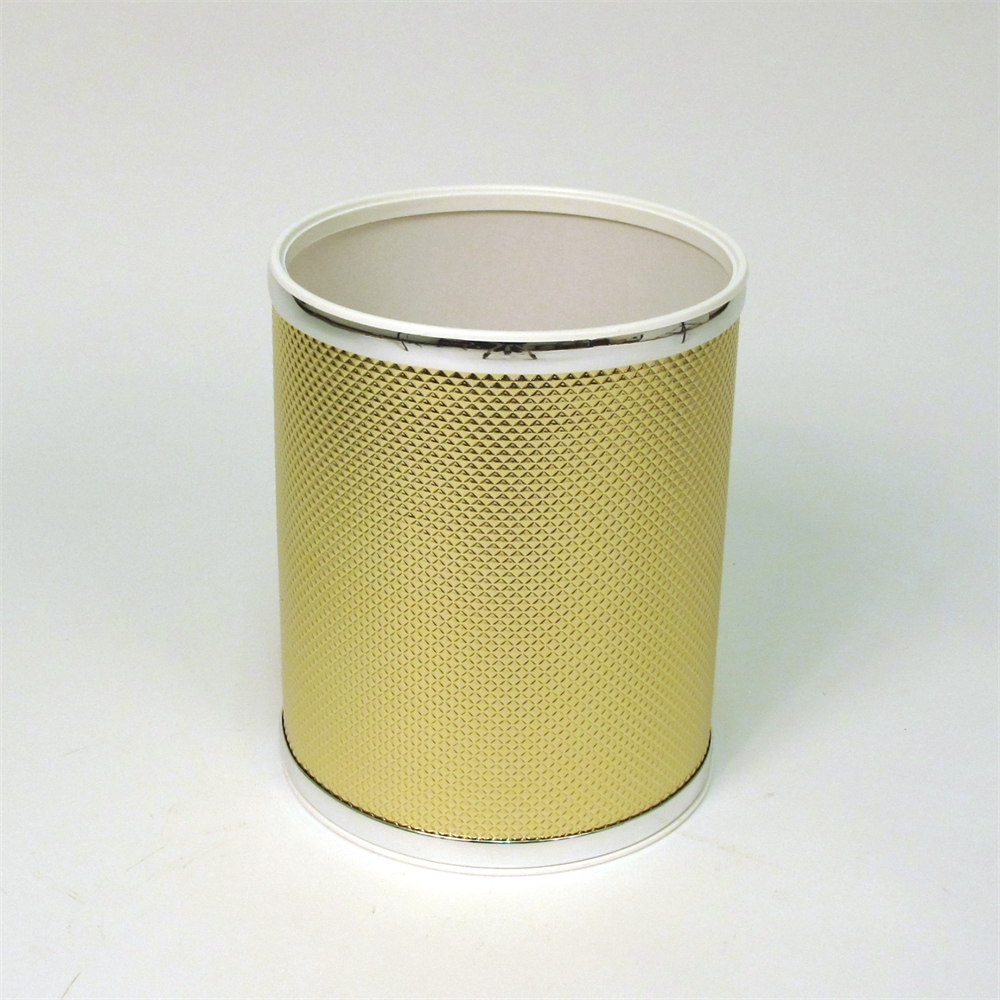 Bath jewelry diamond pattern round vinyl wastebasket gold for Gold bathroom wastebasket