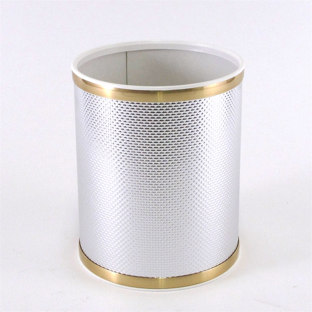Bath jewelry diamond pattern round vinyl wastebasket for Gold bathroom wastebasket