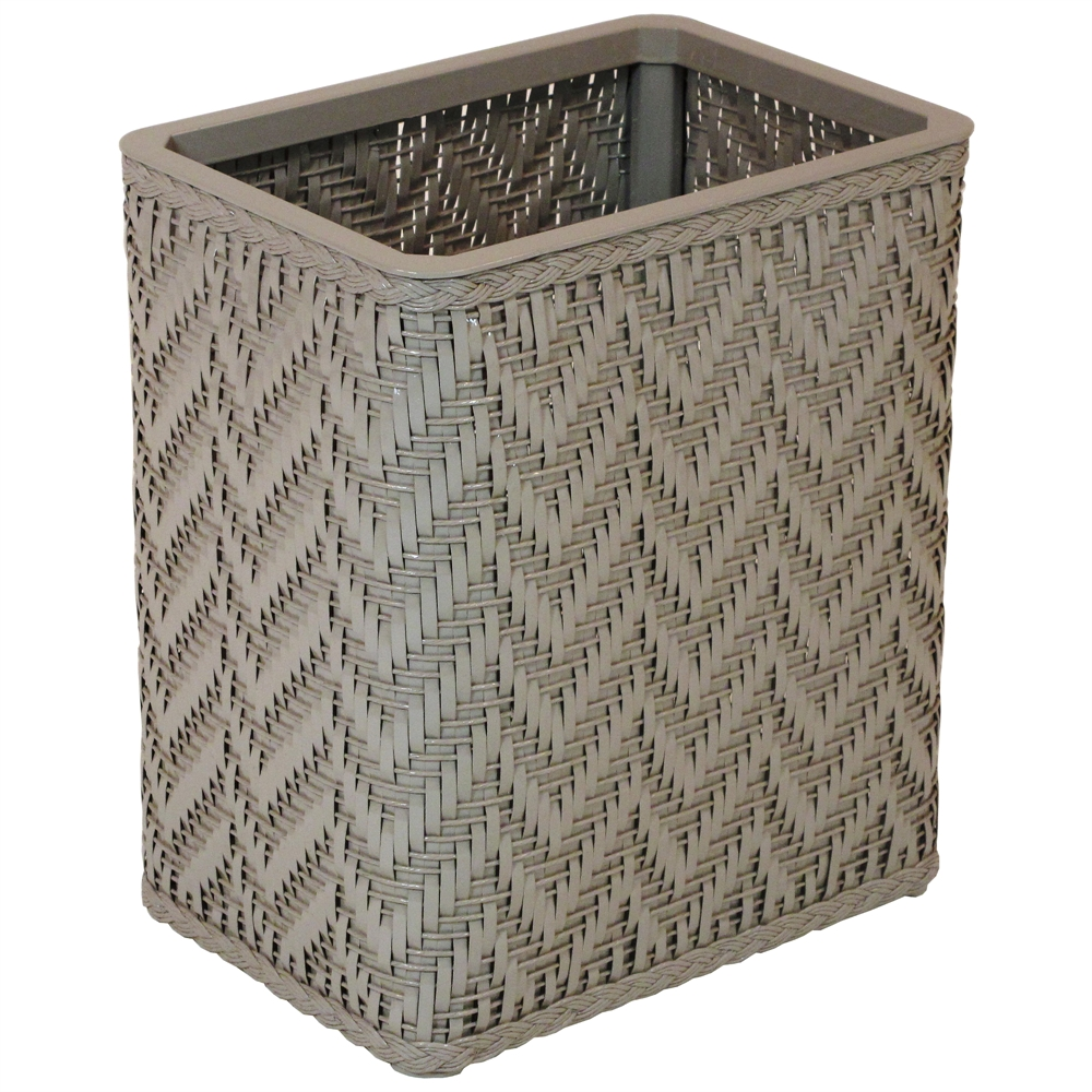 Elegante collection decorator color wicker wastebasket mocha - Elegant wastebasket ...