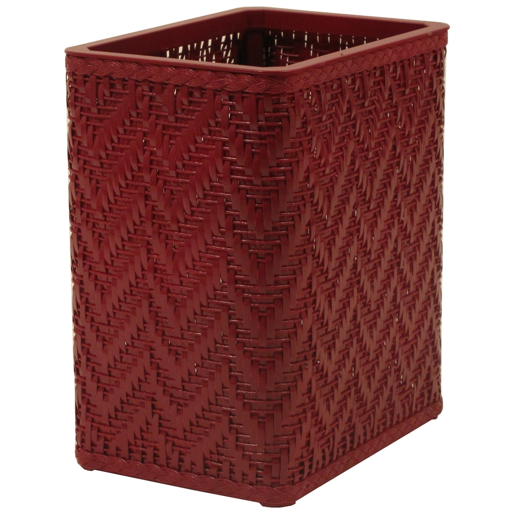 Elegante collection decorator color wicker wastebasket raspberry - Elegant wastebasket ...