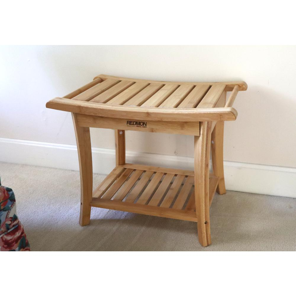Bamboo Shower Bench w/Side Handles. Picture 3