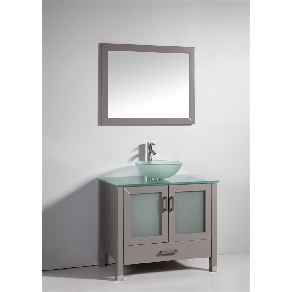 36 Quot Solid Wood Sink Vanity With Mirror And Faucet Light Gray