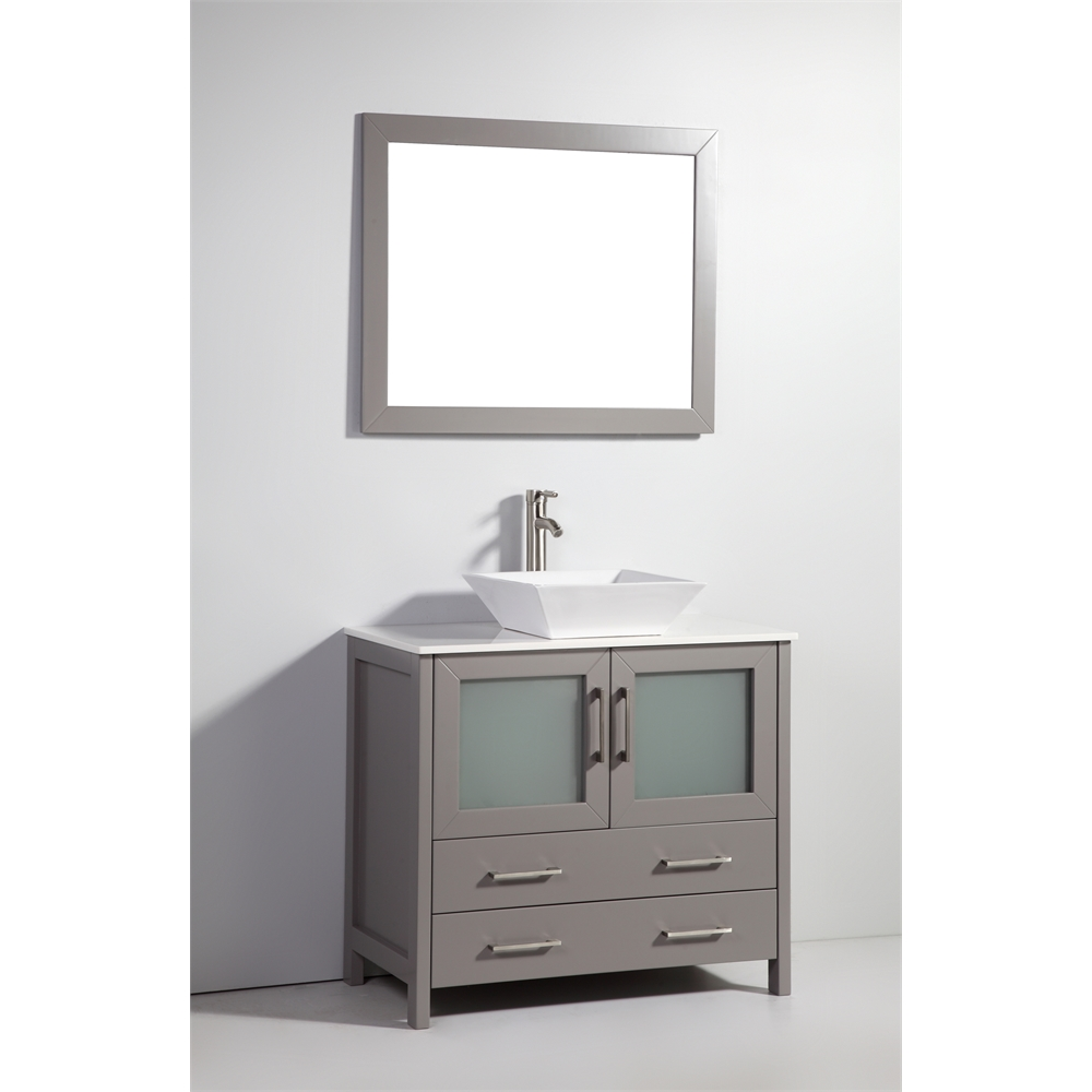 Solid wood 36 Bathroom Vanity Cabinet Glass Vessel Sink