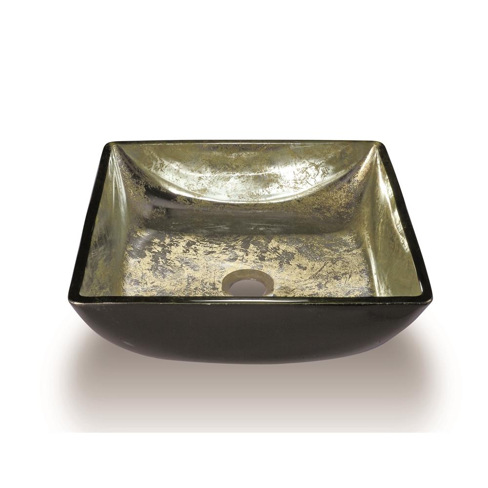 Glass Sink Bowl, Transluscent, Gold