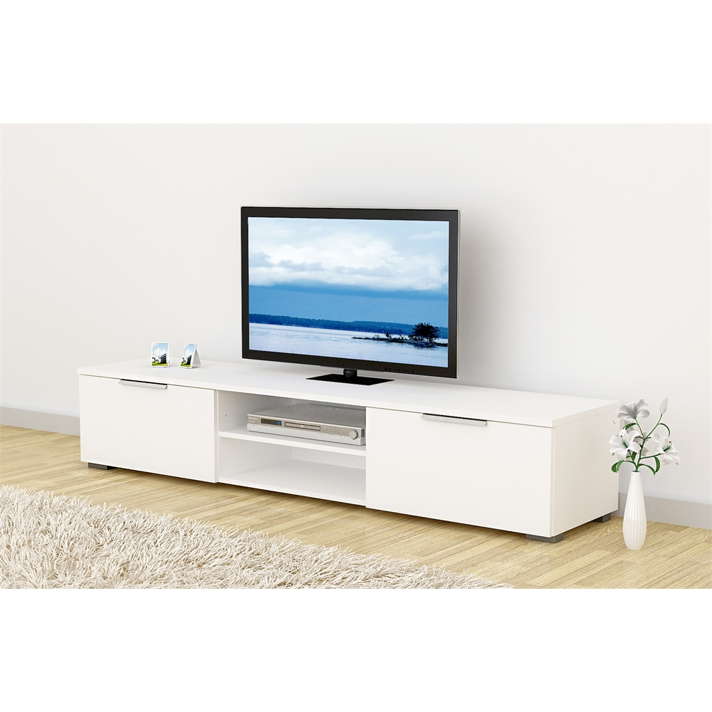 Match TV Stand, White High Gloss. Picture 6