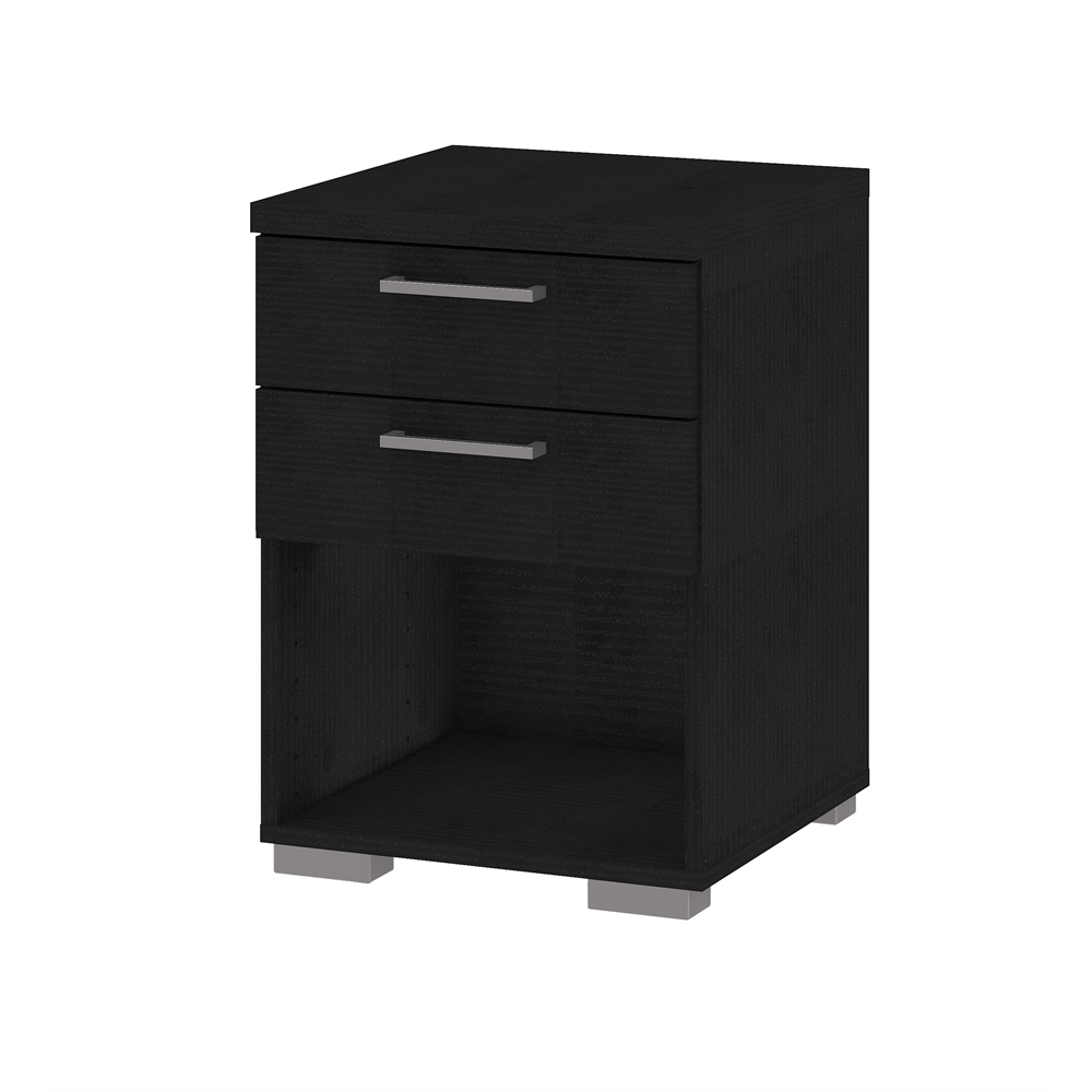 Front 2 drawer nightstand black wood grain for Black wood nightstand