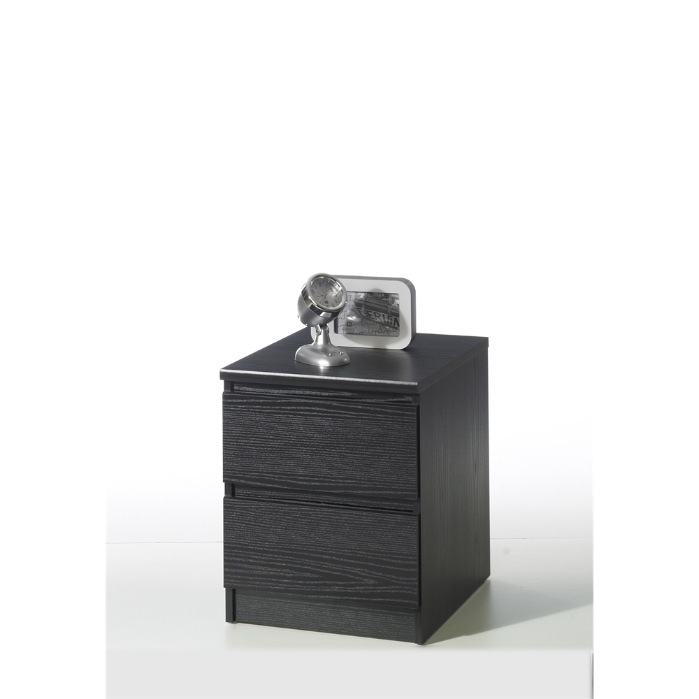 Naia 2 drawer nightstand black wood grain for Black wood nightstand