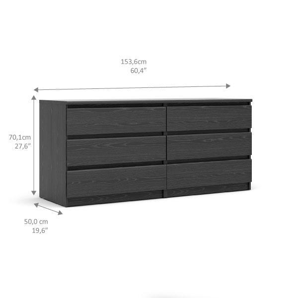 Scottsdale 6 Drawer Double Dresser, Black Wood Grain. Picture 10
