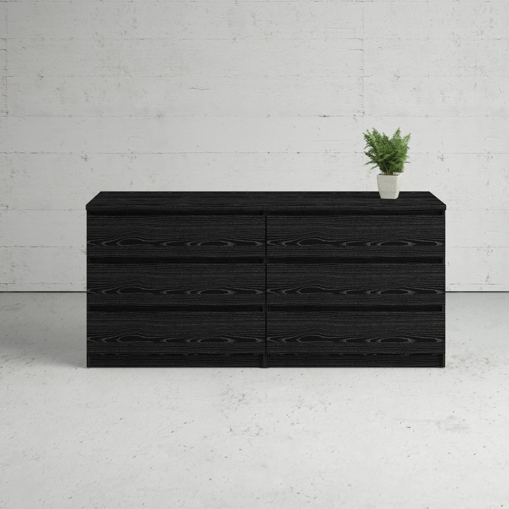 Scottsdale 6 Drawer Double Dresser, Black Wood Grain. Picture 15