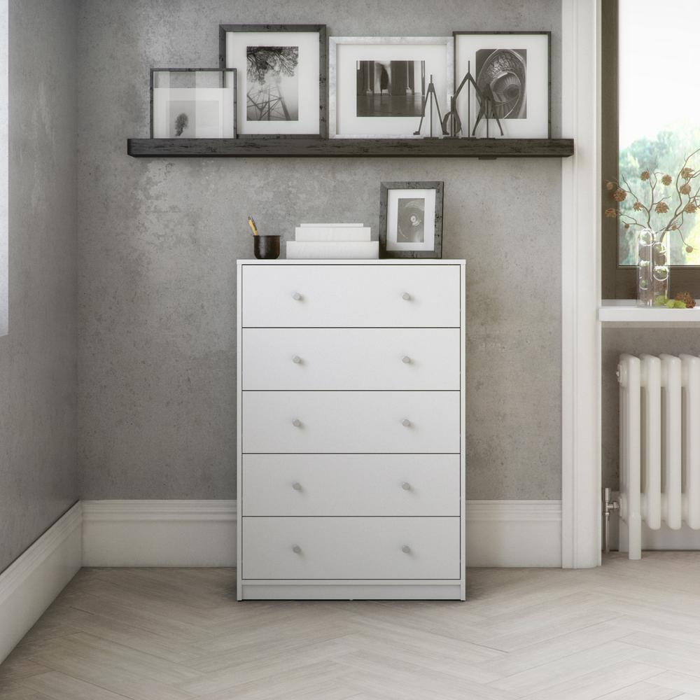 Portland 5 Drawer Chest, White. Picture 5