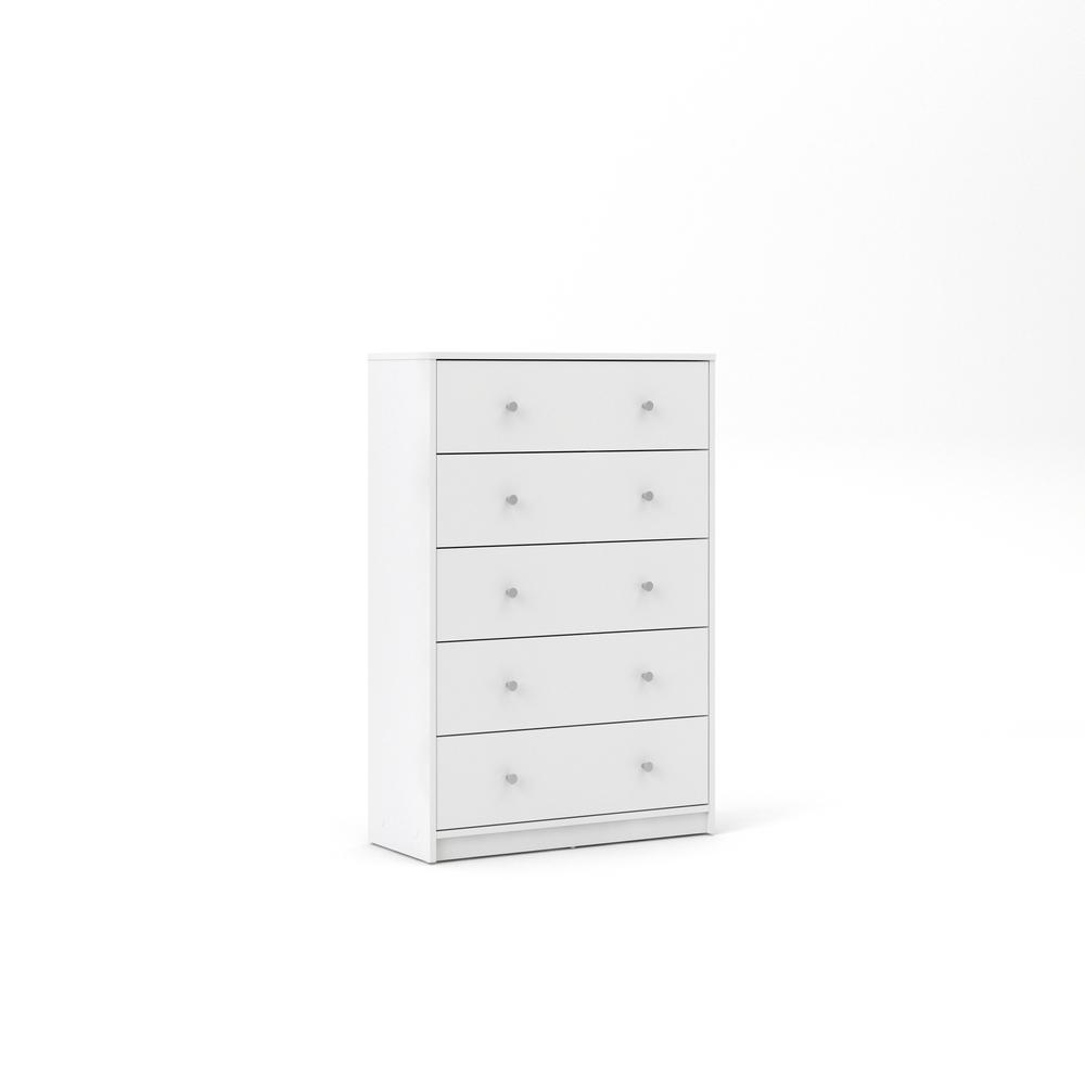 Portland 5 Drawer Chest, White. Picture 2