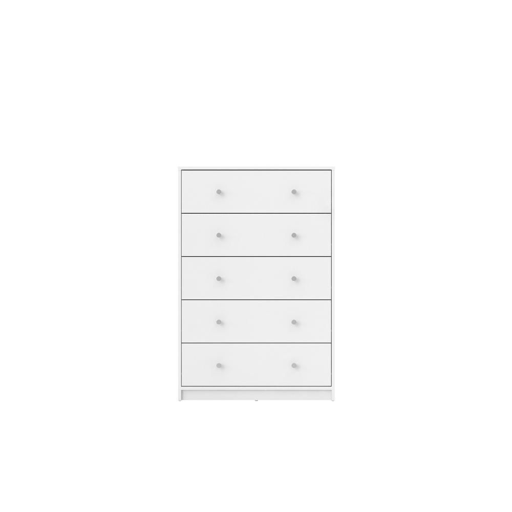 Portland 5 Drawer Chest, White. Picture 1