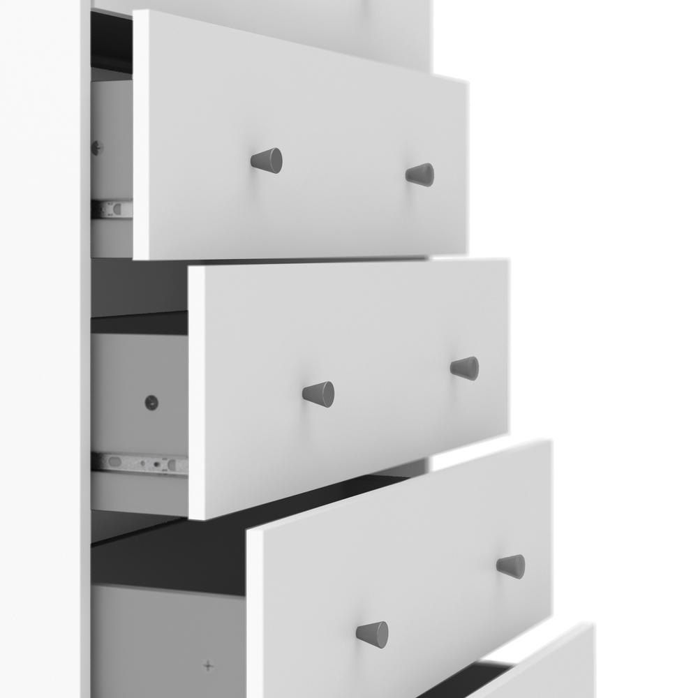 Portland 5 Drawer Chest, White. Picture 3