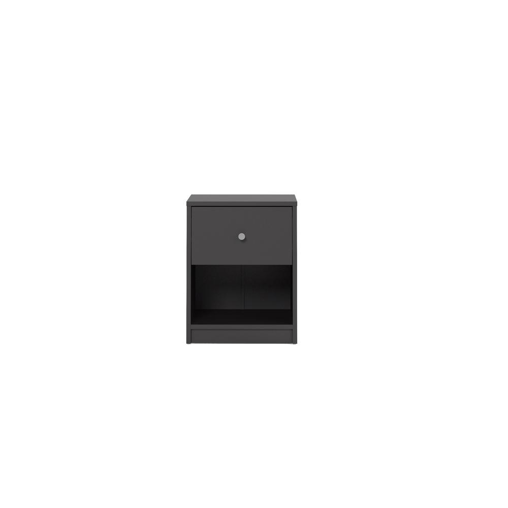 Portland 1 Drawer Nightstand, Black. Picture 1