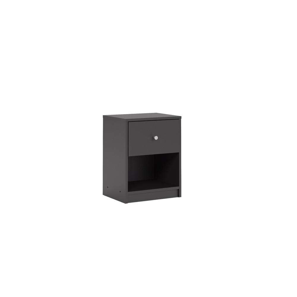 Portland 1 Drawer Nightstand, Black. Picture 4