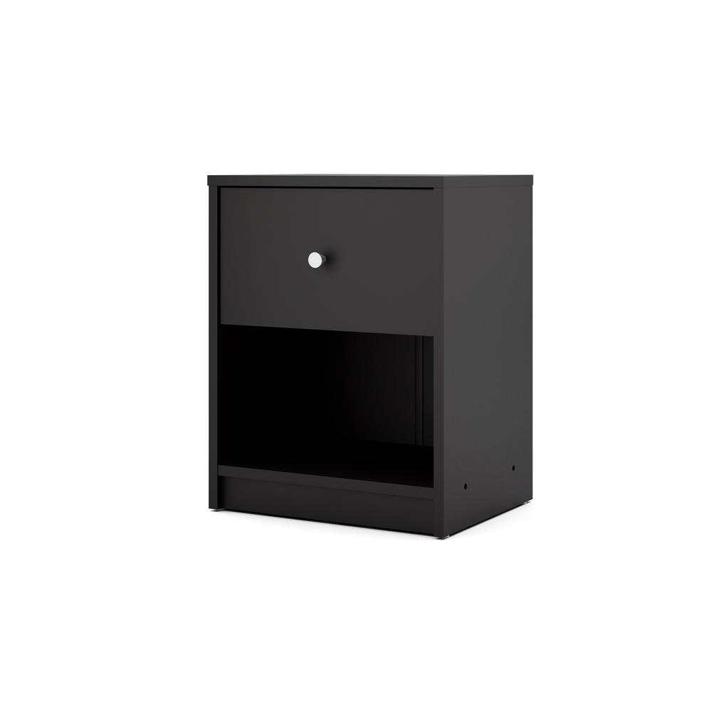 Portland 1 Drawer Nightstand, Black. Picture 3
