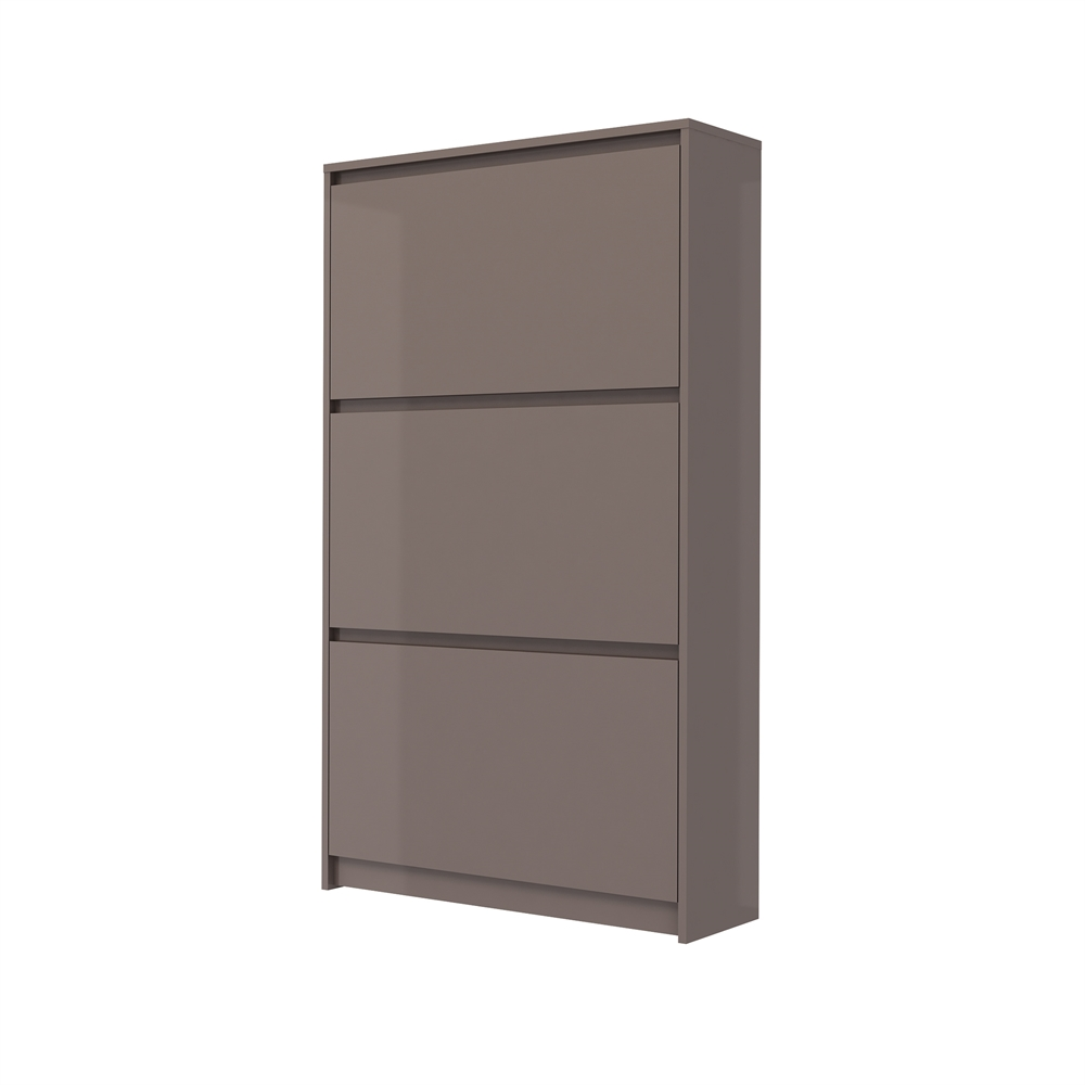 Superior Bright 3 Drawer Shoe Cabinet, Mocha High Gloss