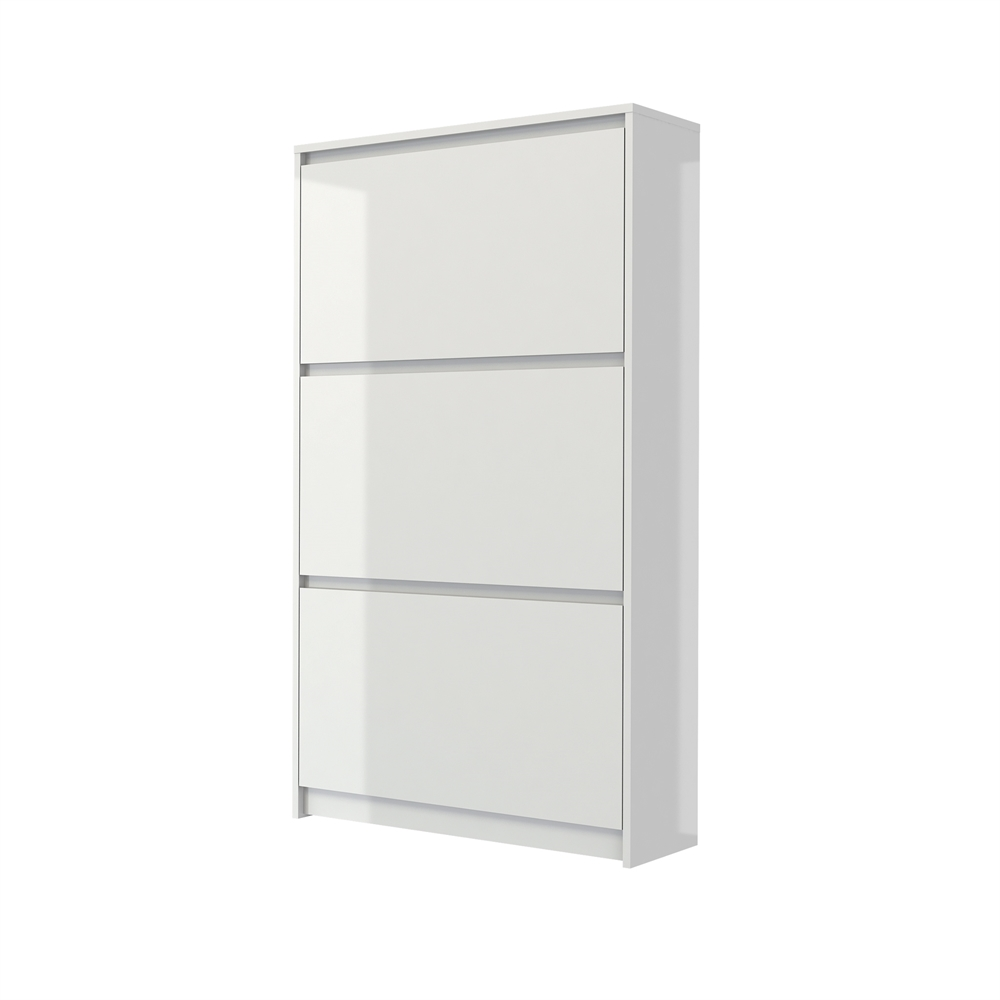 Bright 3 drawer shoe cabinet white high gloss for Meuble mural noir laque