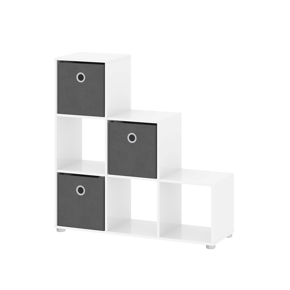 Divide Bookcase With 6 Cubes, White High Gloss