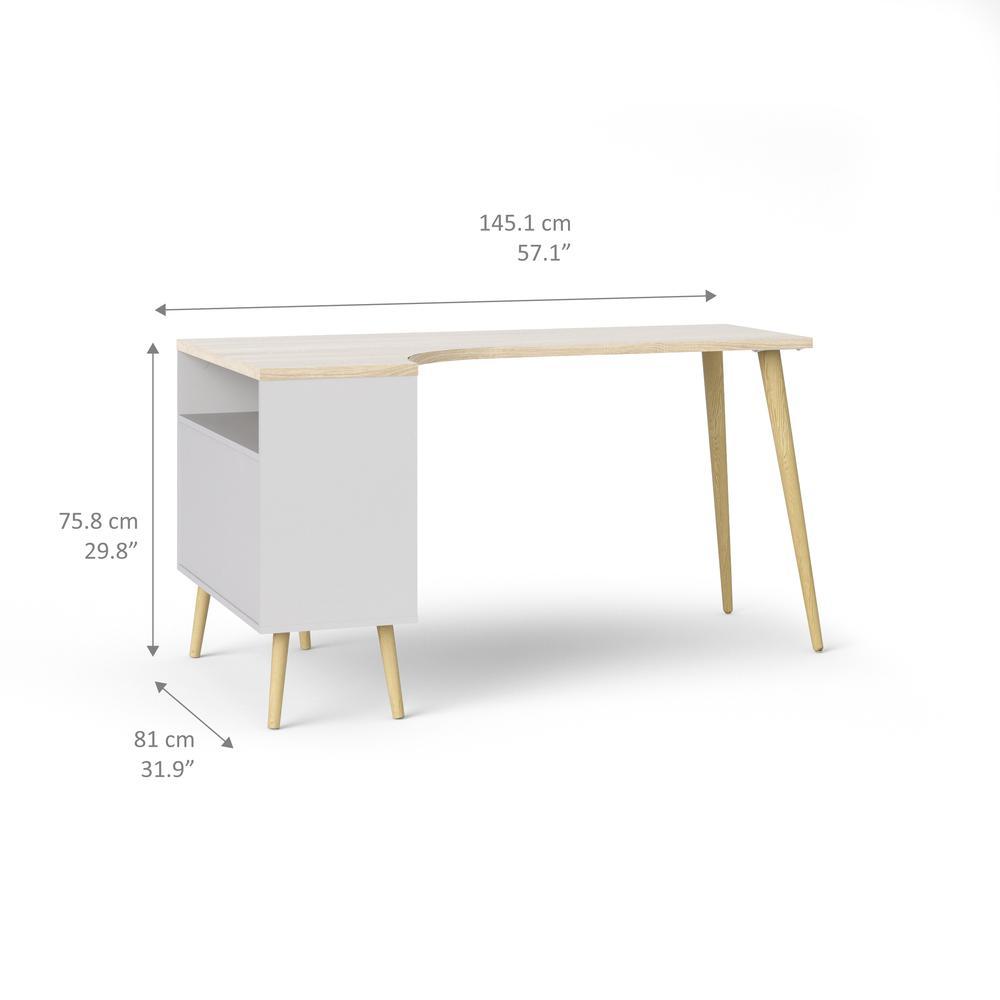 Diana 2 Drawer, 3 Shelf Desk, White/Oak Structure