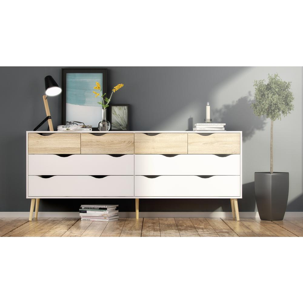Diana 8 Drawer Dresser, White/Oak Structure. Picture 4
