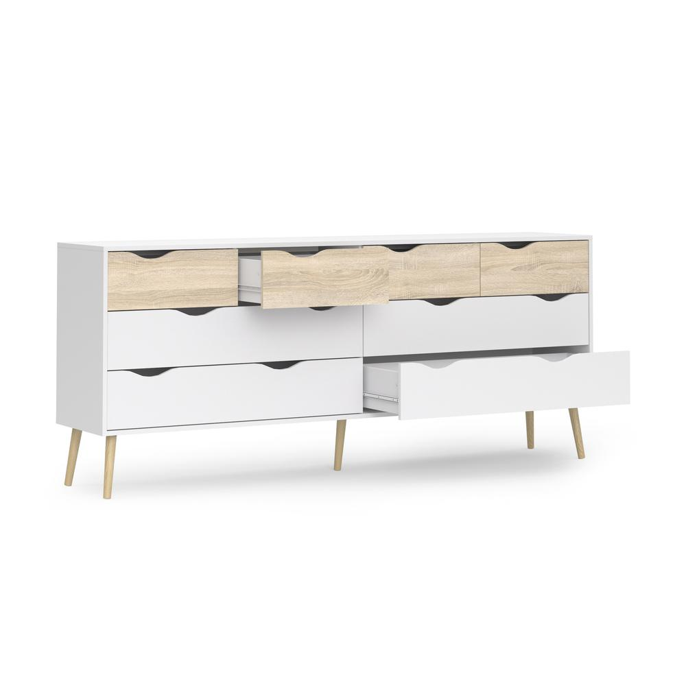 Diana 8 Drawer Dresser, White/Oak Structure. Picture 2