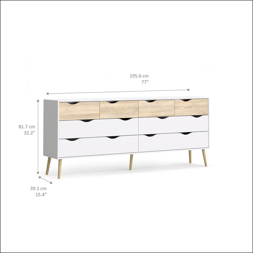 Diana 8 Drawer Dresser, White/Oak Structure. Picture 3