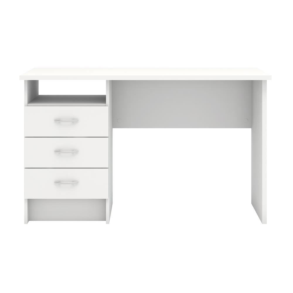 Desk with 3 Drawers, White. Picture 1