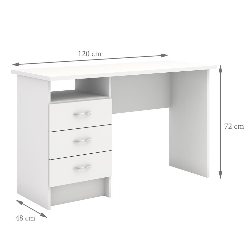 Desk with 3 Drawers, White. Picture 2