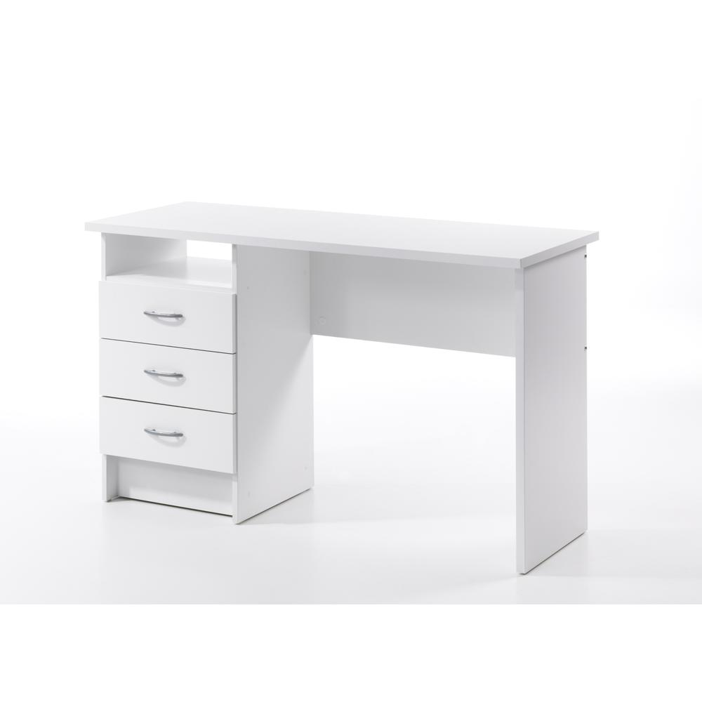Desk with 3 Drawers, White. Picture 3