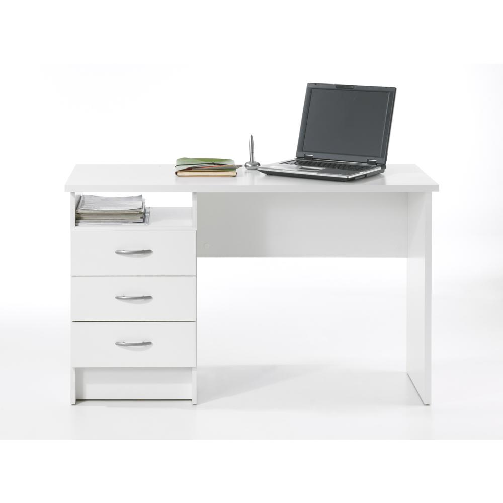 Desk with 3 Drawers, White. Picture 5