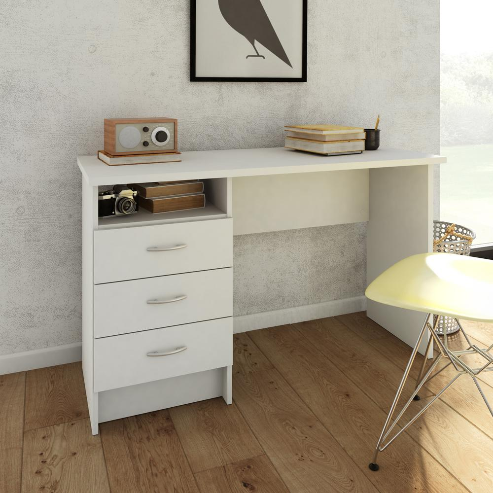 Desk with 3 Drawers, White. Picture 8