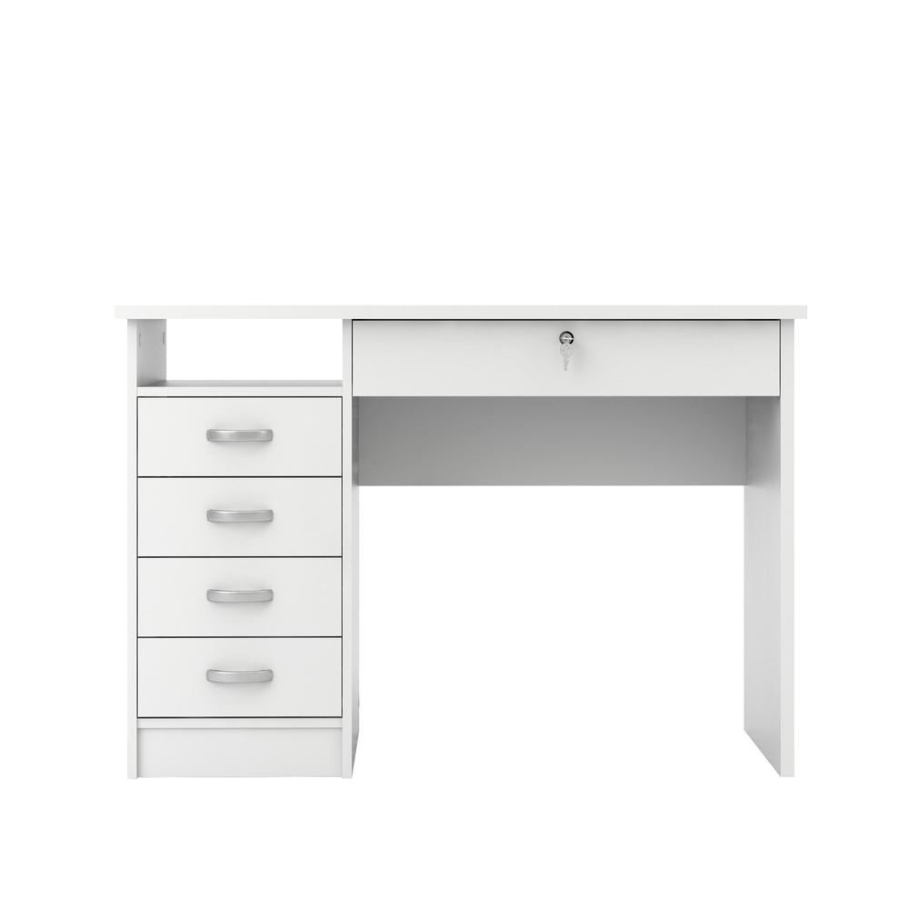 Desk with 5 Drawers, White
