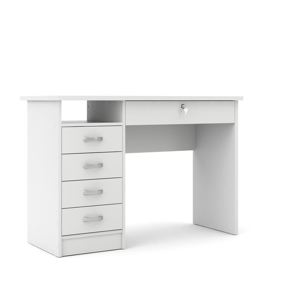 Desk with 5 Drawers, White. Picture 2
