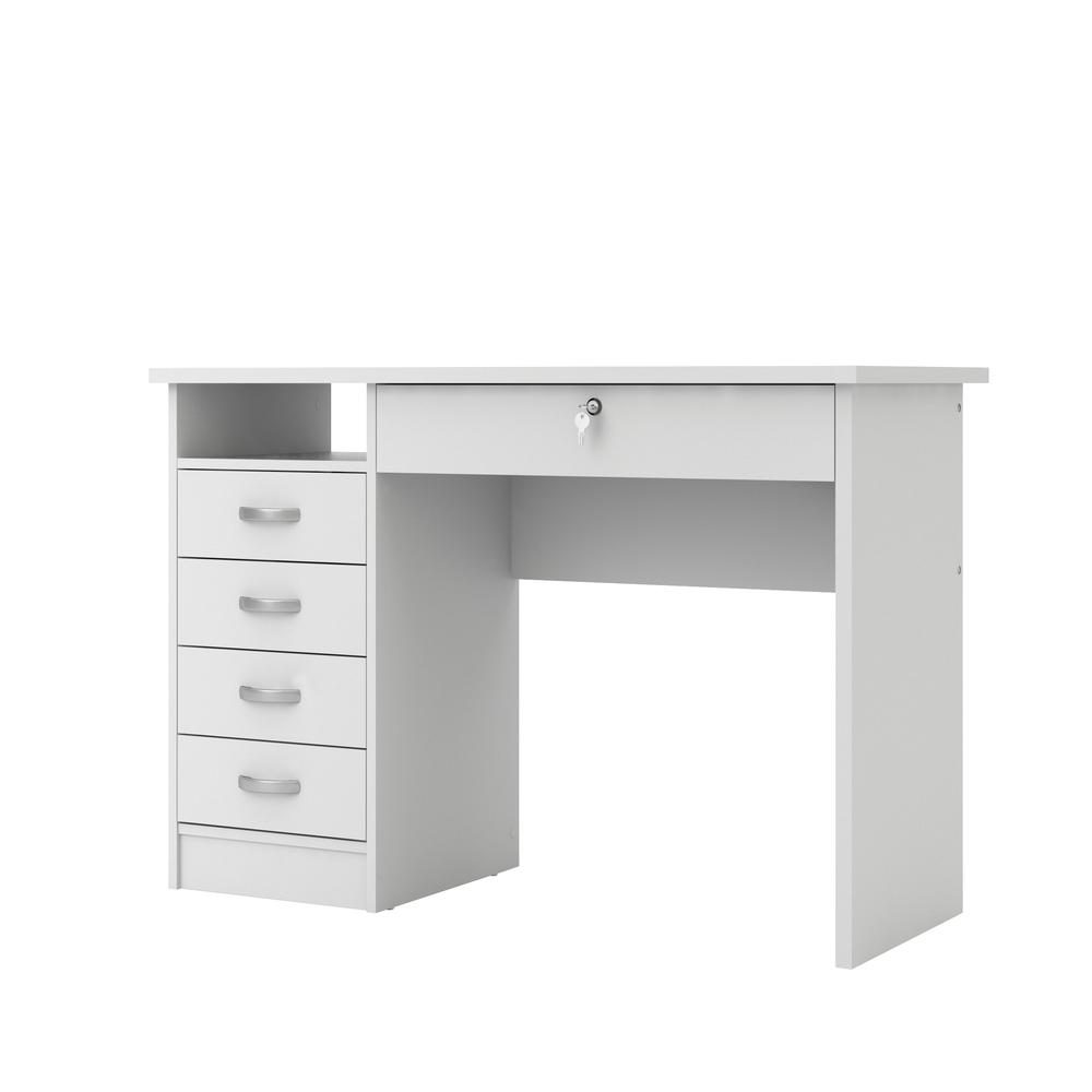 Desk with 5 Drawers, White. Picture 3