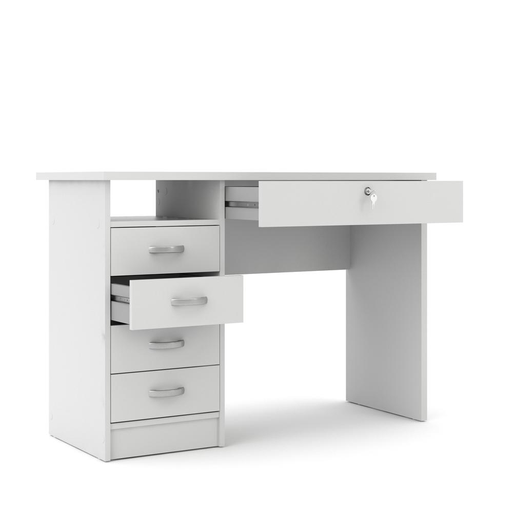 Desk with 5 Drawers, White. Picture 4