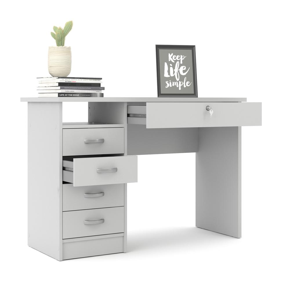 Desk with 5 Drawers, White. Picture 5