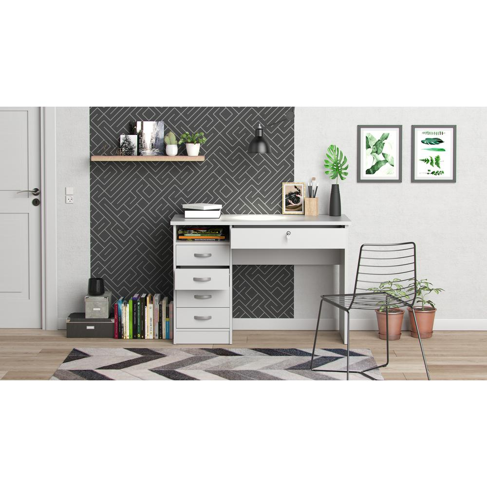 Desk with 5 Drawers, White. Picture 6