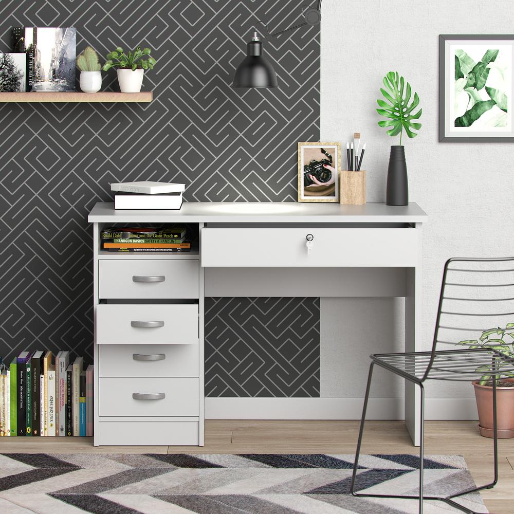 Desk with 5 Drawers, White. Picture 7