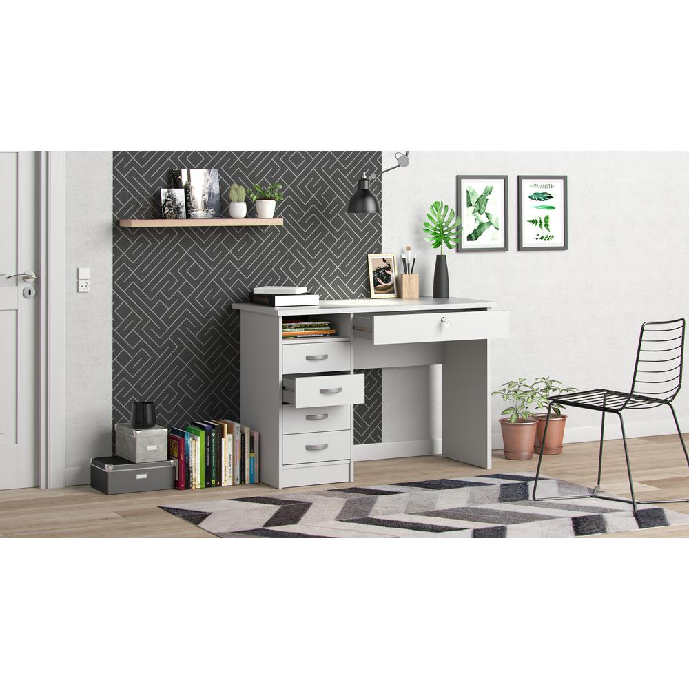 Desk with 5 Drawers, White. Picture 8