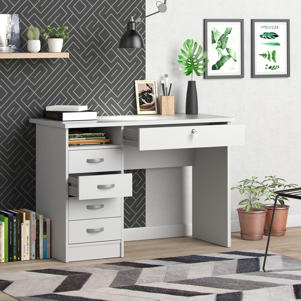Desk with 5 Drawers, White. Picture 9