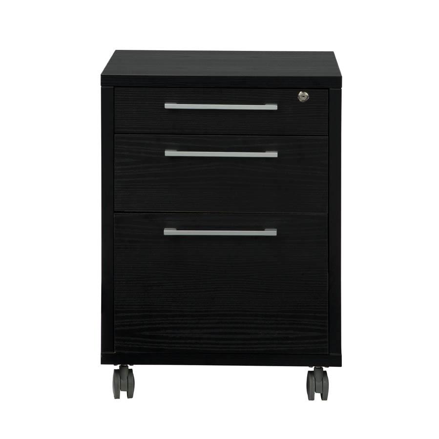 Prima 3 Drawer Mobile File Cabinet, Black Wood Grain. Picture 2