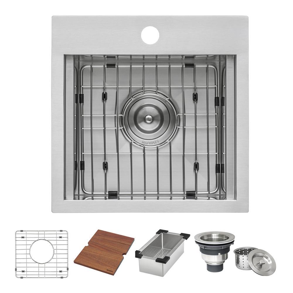 Ruvati 15 x 15 inch Workstation Drop-in Topmount Bar Prep RV Sink 16 Gauge Stainless Steel - RVH8215. Picture 22