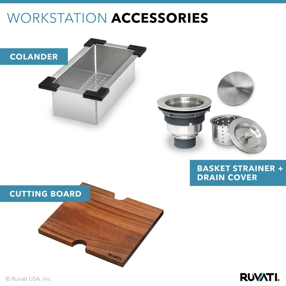 Ruvati 15 x 15 inch Workstation Drop-in Topmount Bar Prep RV Sink 16 Gauge Stainless Steel - RVH8215. Picture 13
