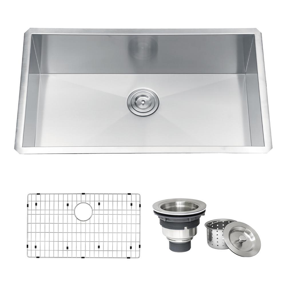 32-inch Undermount 16 Gauge Zero Radius Kitchen Sink Stainless Steel Single  Bowl