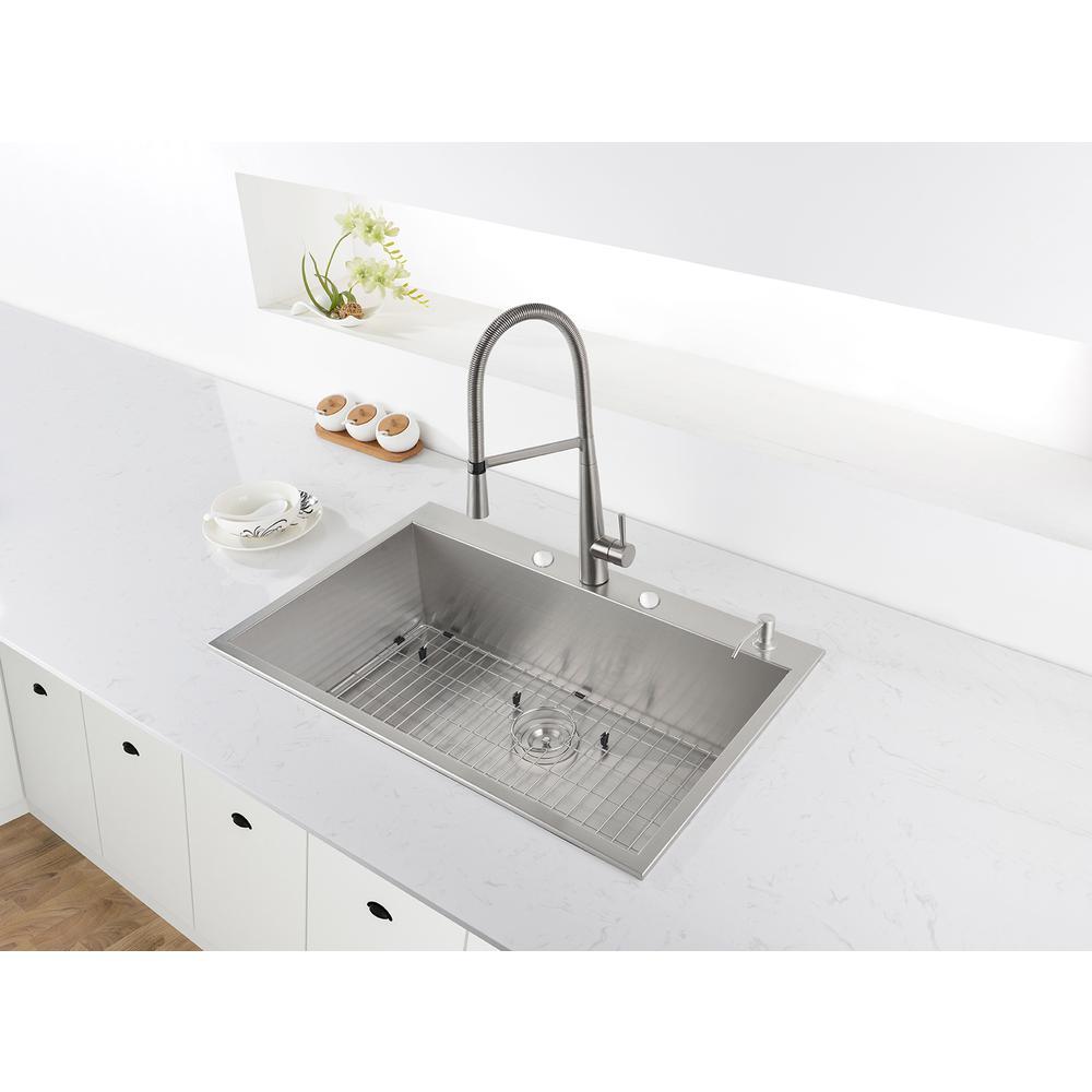 33 x 22 inch Drop-in Topmount 16 Gauge Zero Radius Stainless Steel Kitchen  Sink Single Bowl