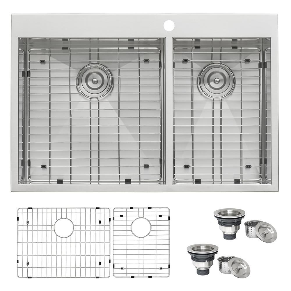 33 x 22 inch Drop-in 60/40 Double Bowl 16 Gauge Zero Radius Topmount  Stainless Steel Kitchen Sink
