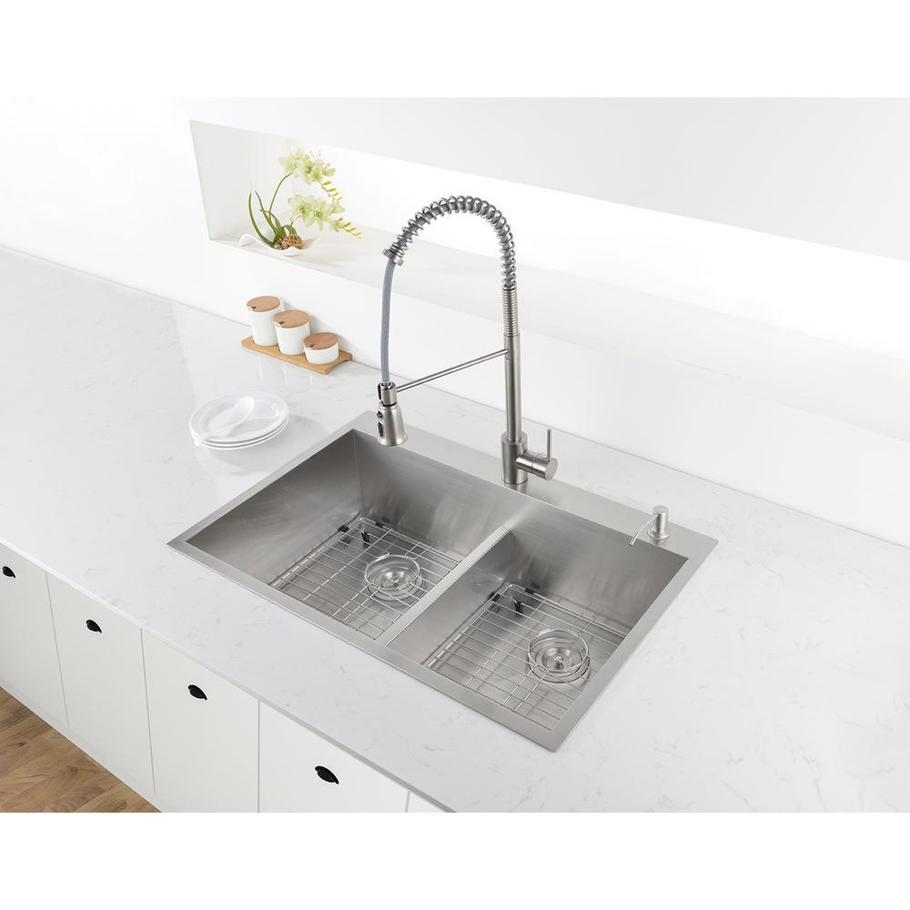 33-inch Drop-in Low-Divide Zero Radius 50/50 Double Bowl 16 Gauge Topmount  Kitchen Sink