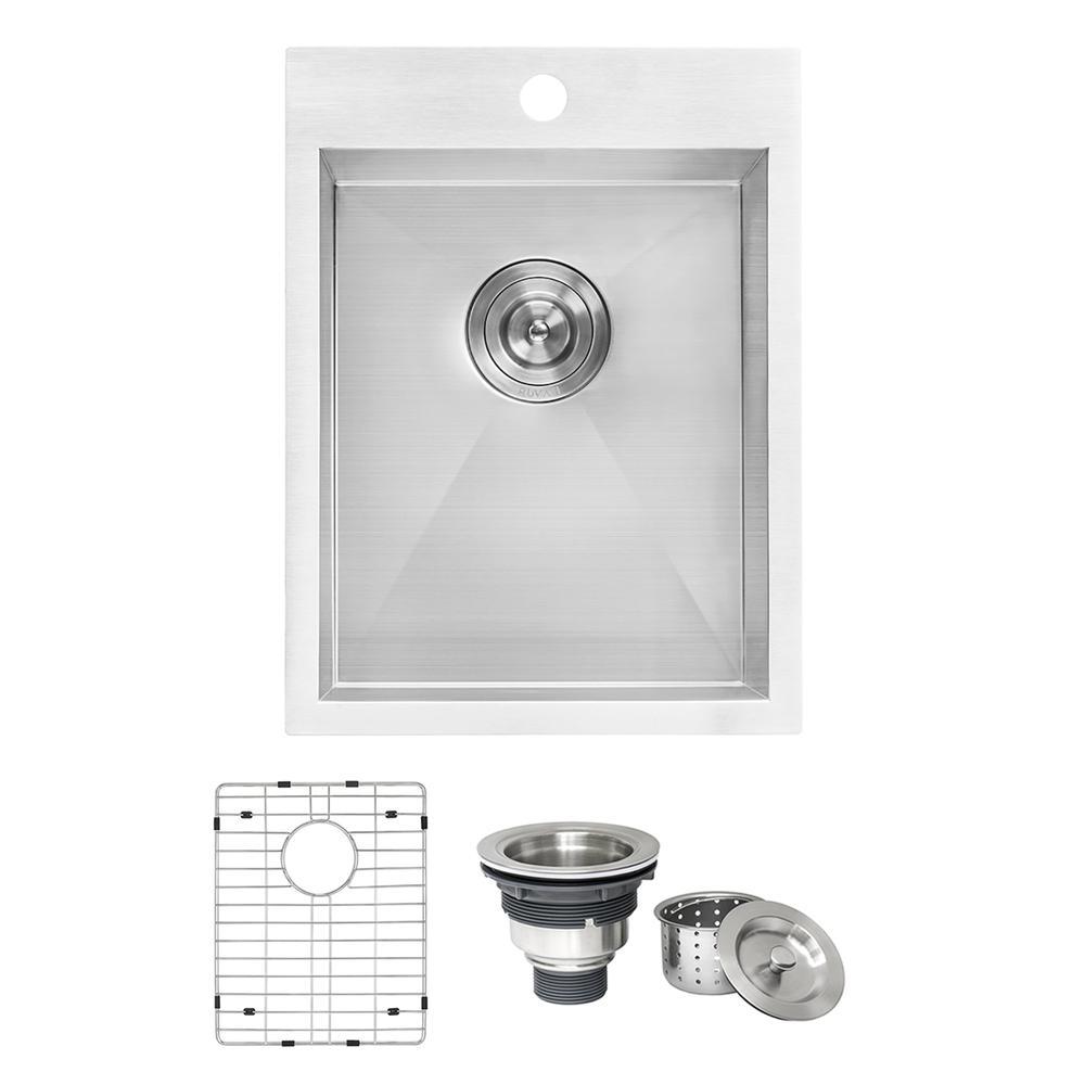 15 x 20 inch Drop-in Topmount Bar Prep Sink 16 Gauge Stainless Steel Single  Bowl